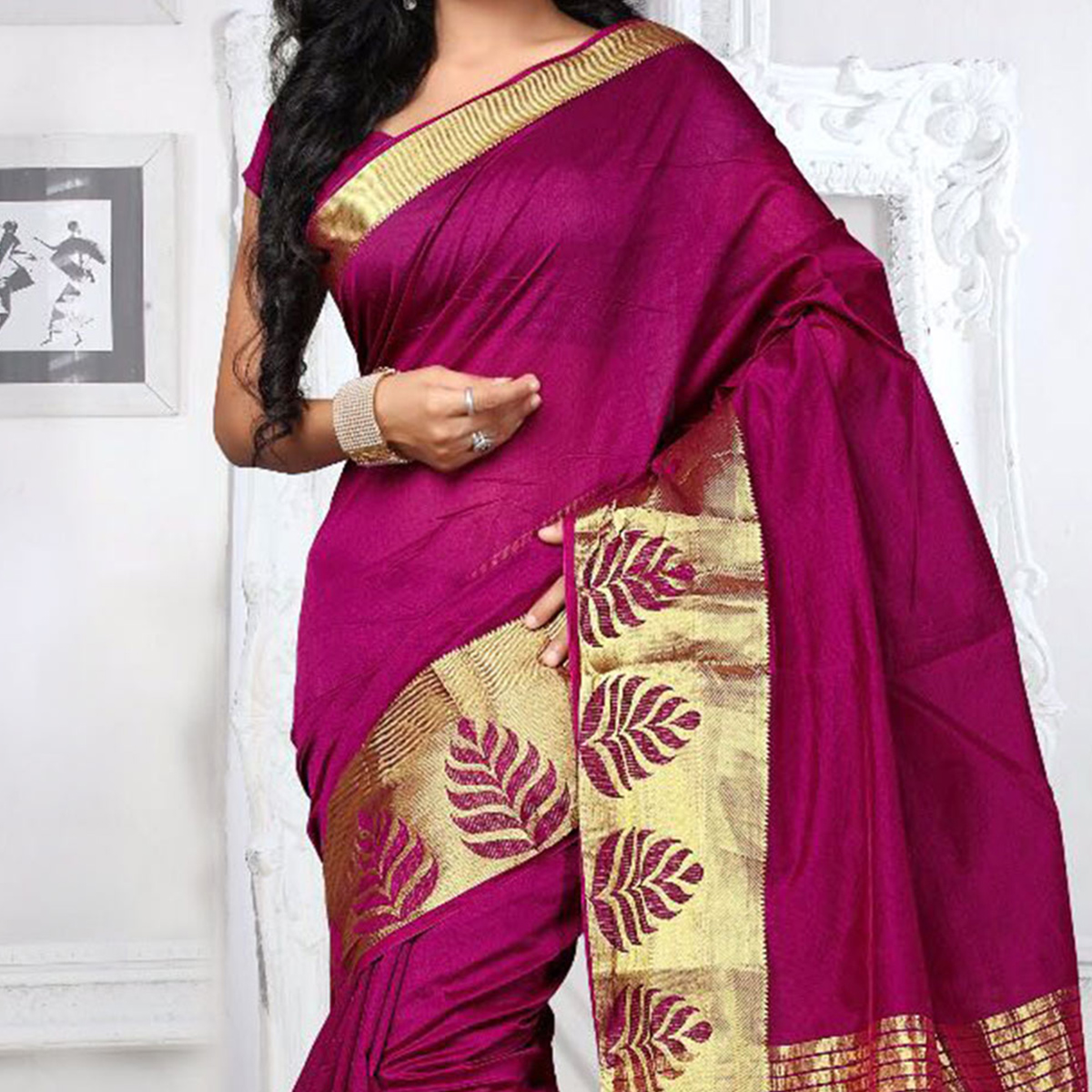 Dark Magenta Weaving Work Silk Saree