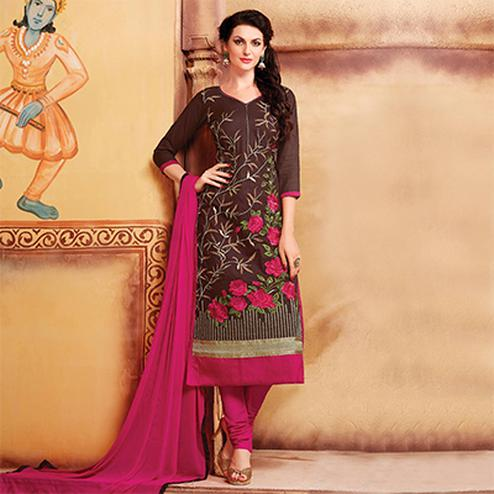 Brown - Pink Embroidered Cotton Dress Material