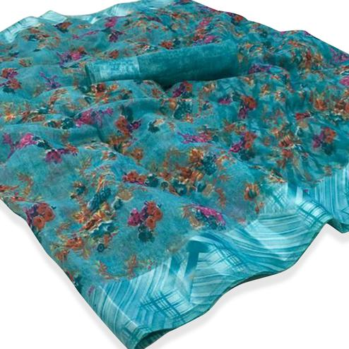 Gleaming Blue Colored Casual Wear Floral Printed Linen Saree