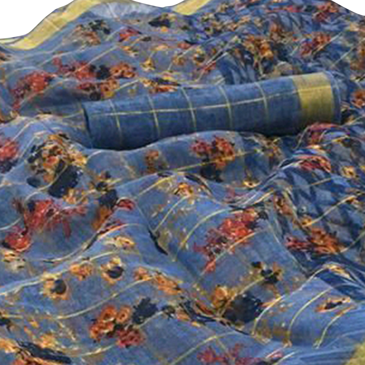 Magnetic Blue Colored Casual Wear Floral Checked Jari Printed Cotton Saree