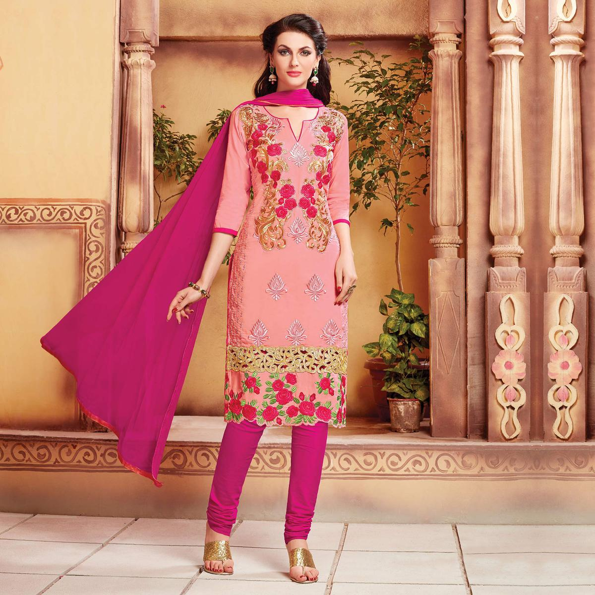Pink - Magenta Cotton Dress Material with Embroidery