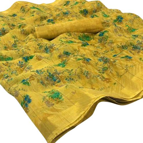 Flattering Yellow Colored Casual Wear Floral Checked Jari Printed Cotton Saree