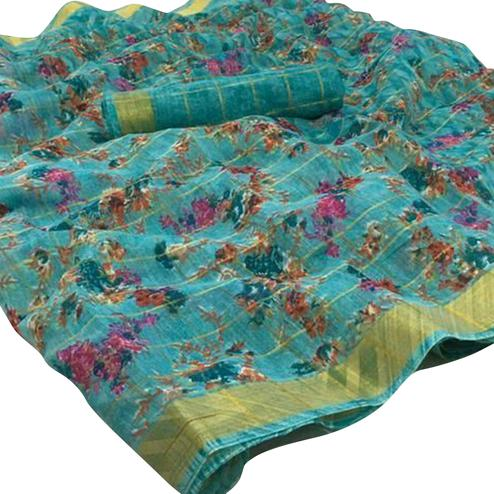 Excellent Sky Blue Colored Casual Wear Floral Checked Jari Printed Cotton Saree