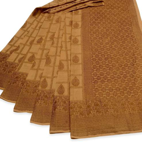 Lovely Chiku Colored Festive Wear Woven Cotton Saree
