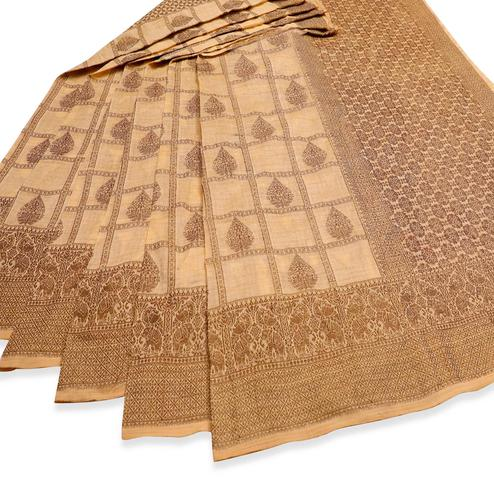 Majesty Beige Colored Festive Wear Woven Cotton Saree