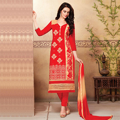 Red Embroidered Work Cotton Dress Material