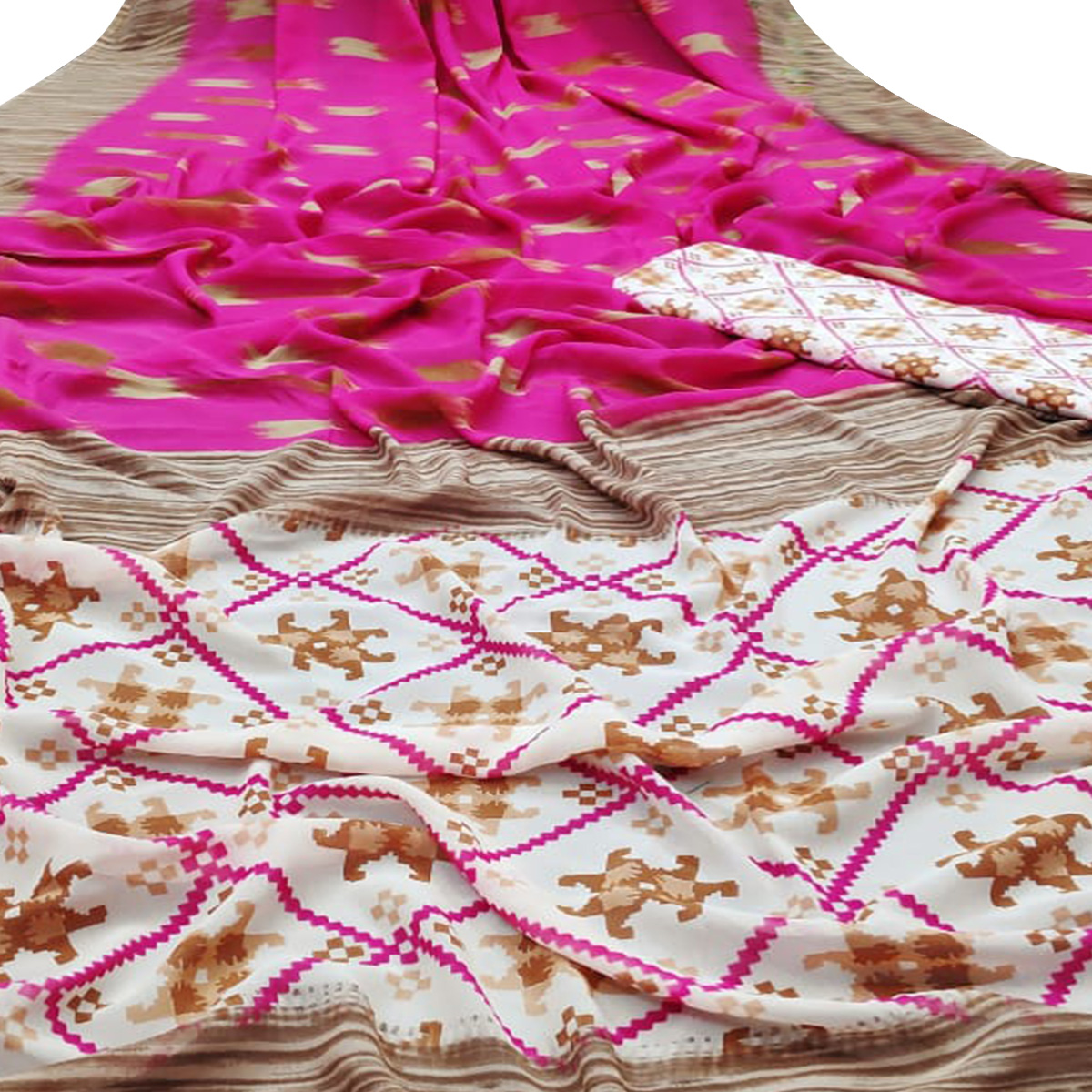 Ethnic Dark Pink Colored Casual Wear Mill Printed Georgette Saree