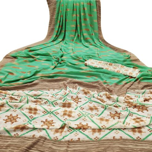 Ravishing Green Colored Casual Wear Mill Printed Georgette Saree