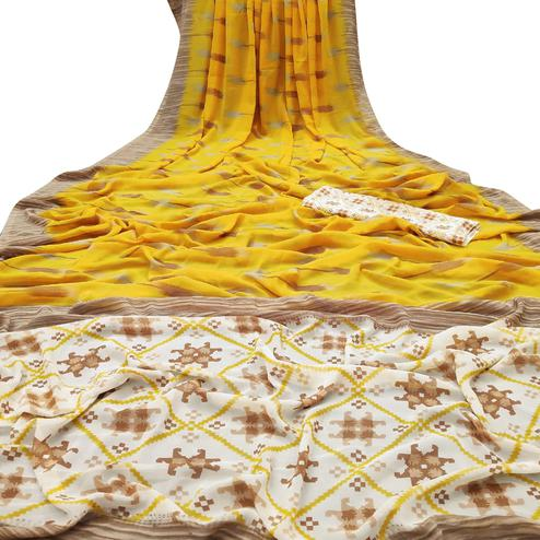 Staring Yellow Colored Casual Wear Mill Printed Georgette Saree