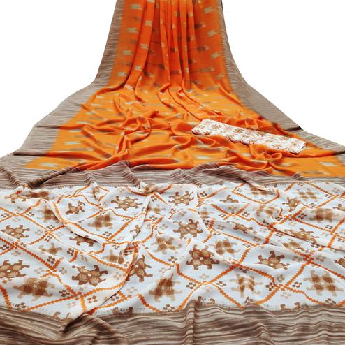Dazzling Orange Colored Casual Wear Mill Printed Georgette Saree