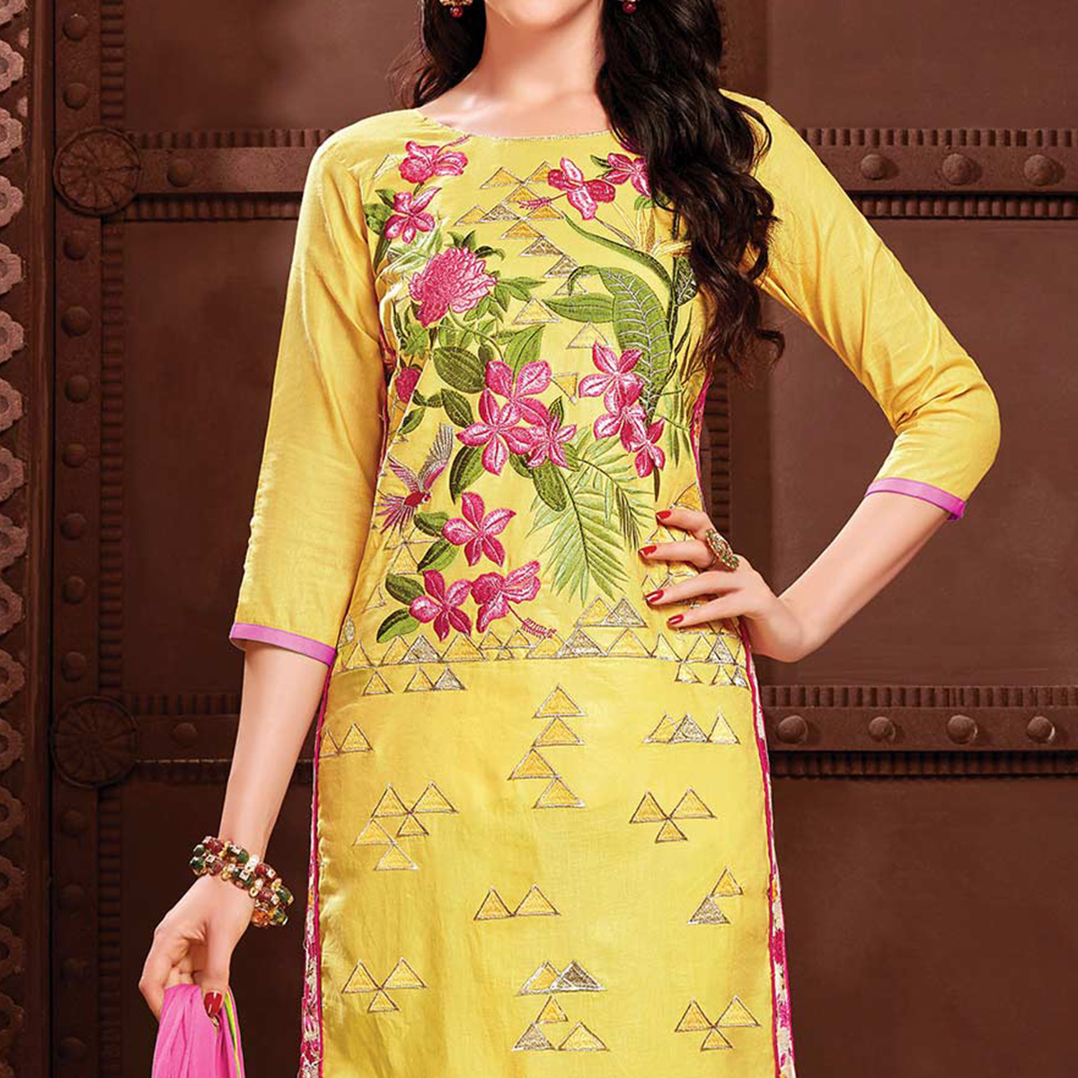 Yellow Straight Cut Cotton Dress Material
