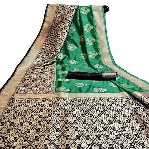 Marvellous Green Colored Festive Wear Woven Cotton Silk Saree