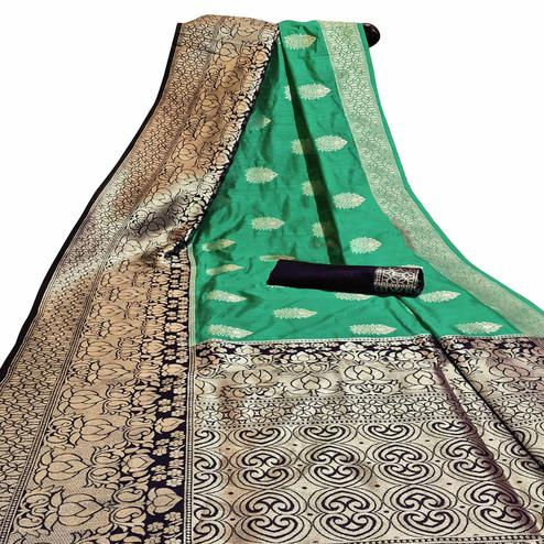 Alluring Green Colored Festive Wear Woven Cotton Silk Saree