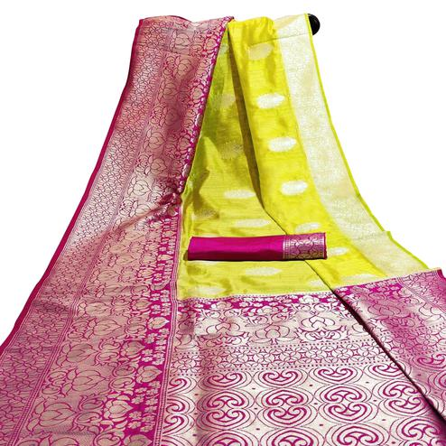 Stunning Light Green Colored Festive Wear Woven Cotton Silk Saree