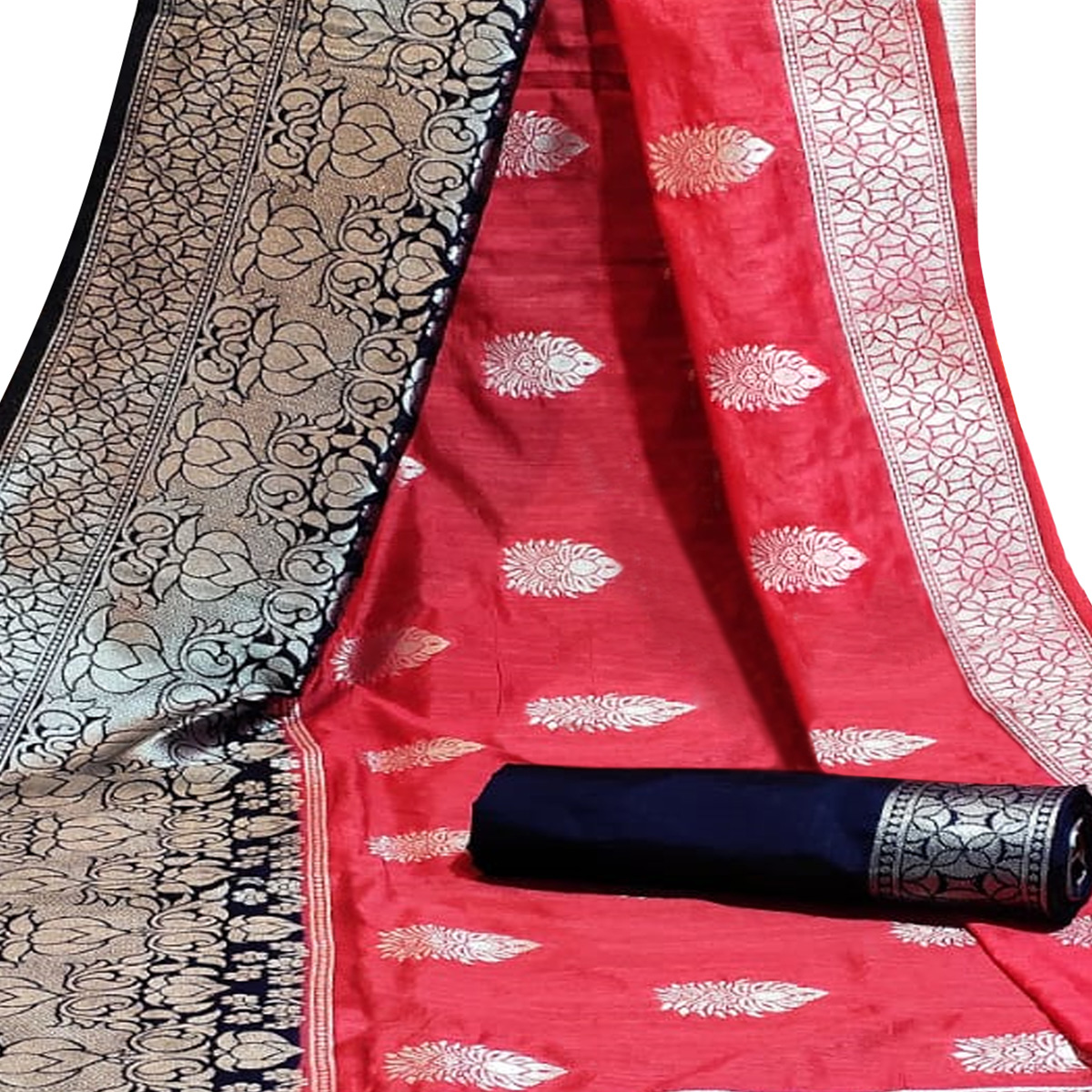 Flirty Red Colored Festive Wear Woven Cotton Silk Saree