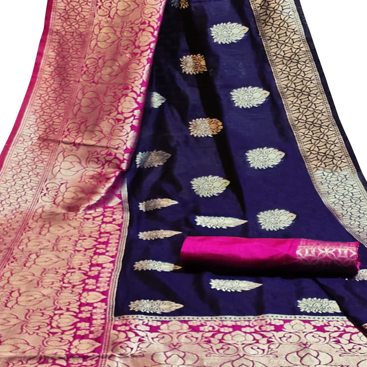 Glowing Navy Blue Colored Festive Wear Woven Cotton Silk Saree