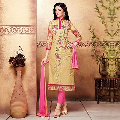 Beige - Pink Unstitched Cotton Suit