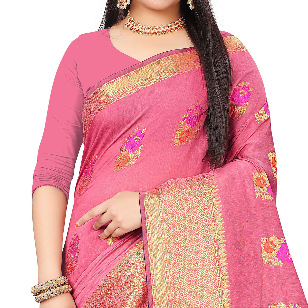 Blooming Pink Colored Festive Wear Woven Cotton Silk Saree