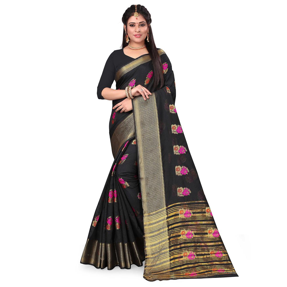 Engrossing Black Colored Festive Wear Woven Cotton Silk Saree