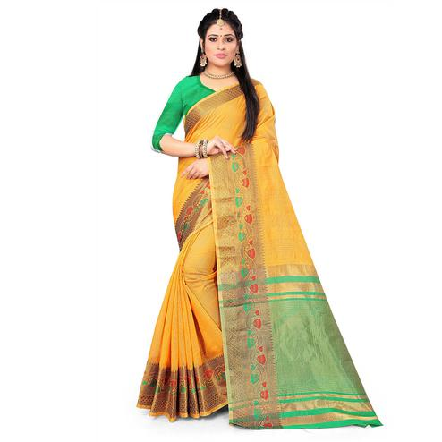 Amazing Yellow Colored Festive Wear Woven Cotton Saree