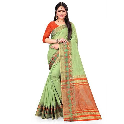 Gorgeous Pista Green Colored Festive Wear Woven Cotton Saree