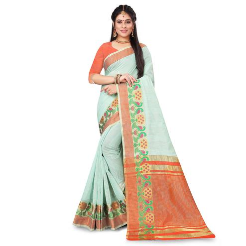 Blissful Light Blue Colored Festive Wear Woven Cotton Saree