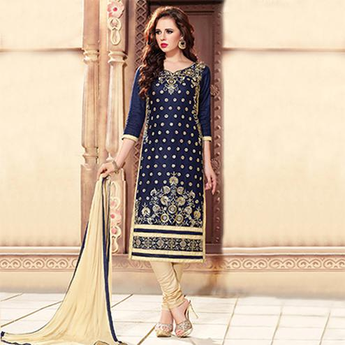 Navy Blue Embroidered Cotton Suit