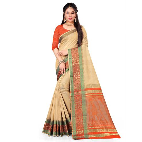 Imposing Beige Colored Festive Wear Woven Cotton Saree