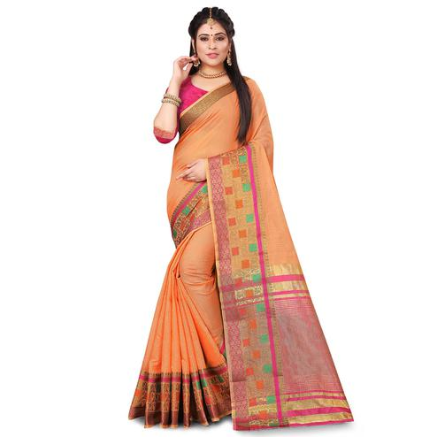 Lovely Orange Colored Festive Wear Woven Cotton Saree