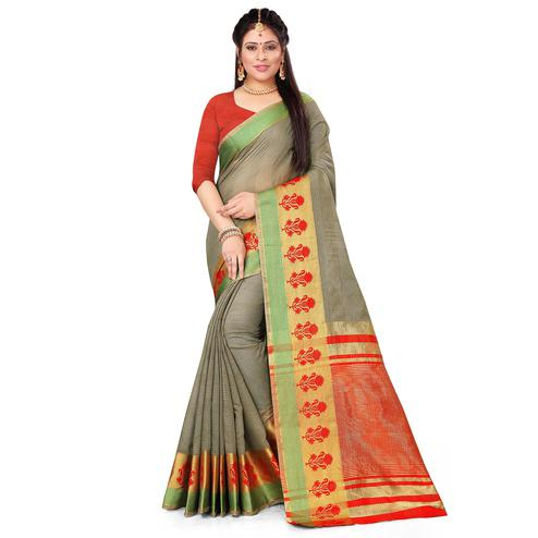 Majesty Grey Colored Festive Wear Woven Cotton Saree