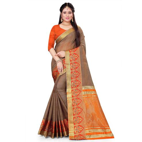 Ideal Brown Colored Festive Wear Woven Cotton Saree
