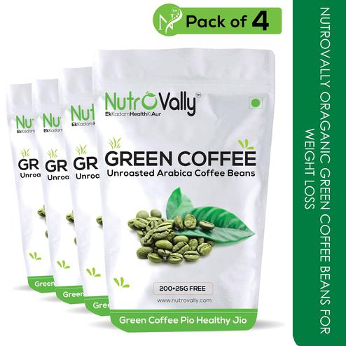 NutroVally Organic green coffee beans for weight loss 200g+25gm Free