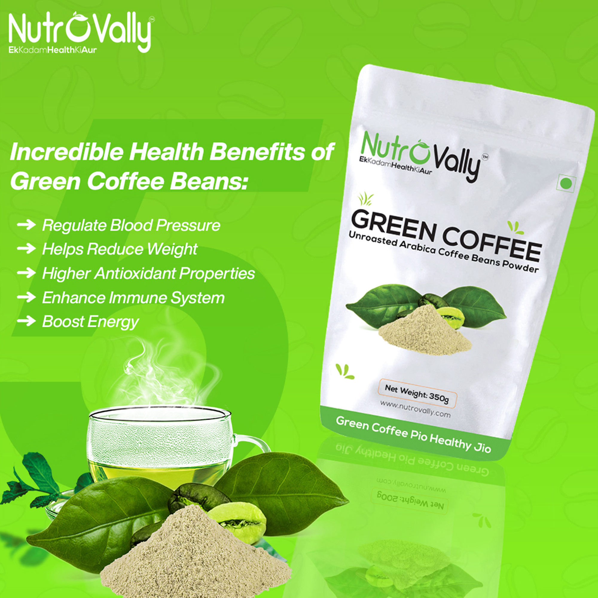 NutroVally Organic green coffee powder for weight loss 350gm (Pack fo 4)