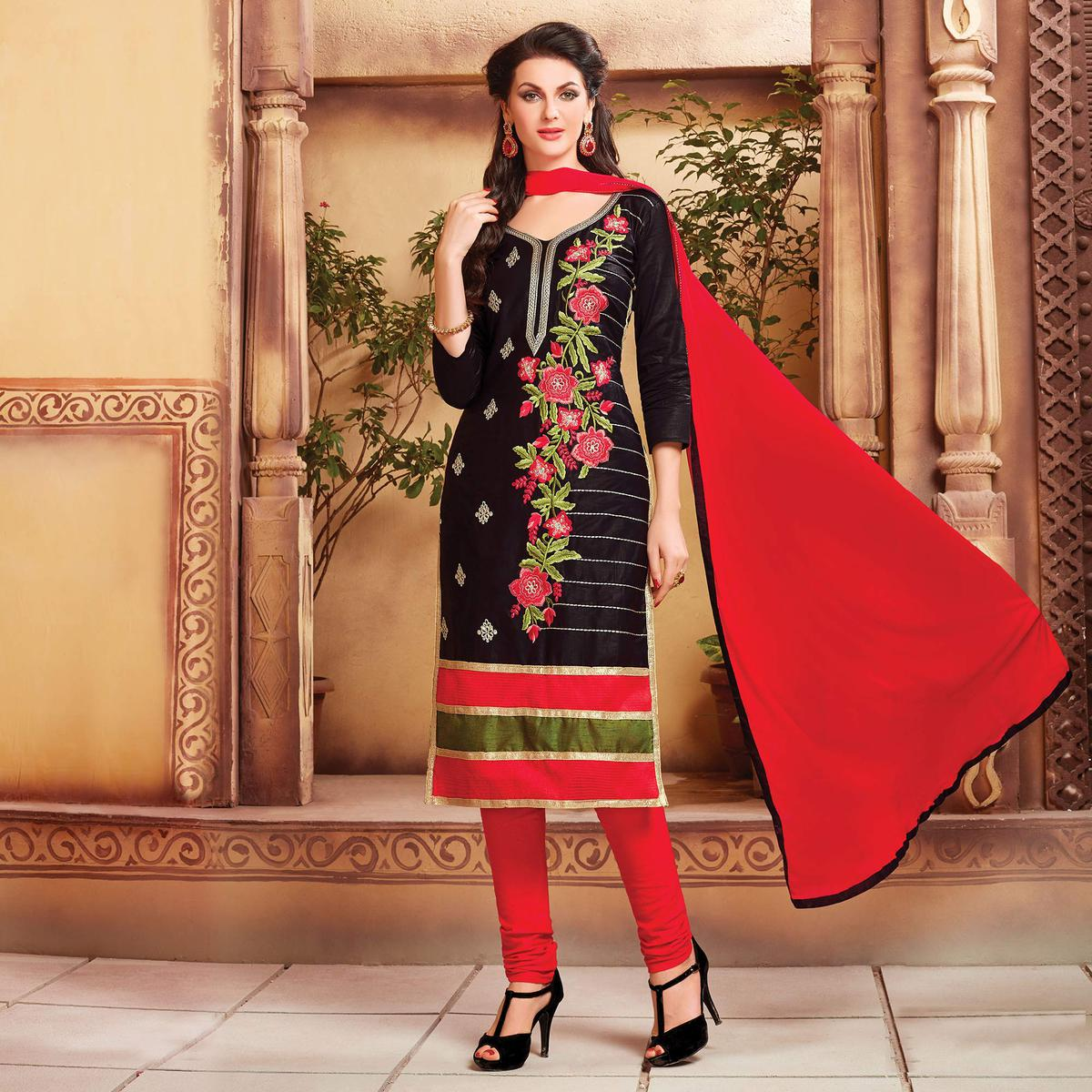 Black - Red Embroidered Work Cotton Dress Material