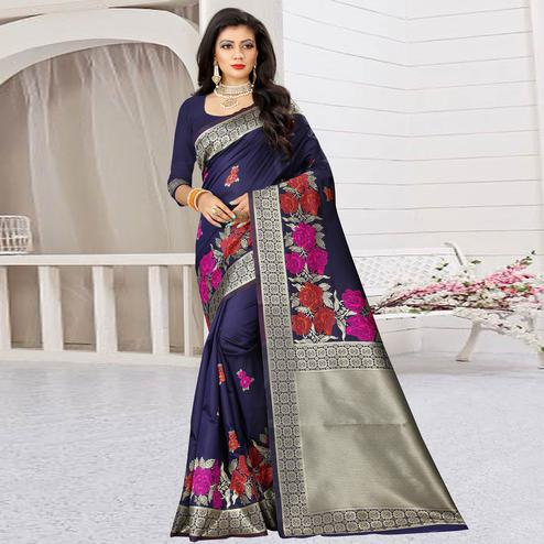Classy Navy Blue Colored Festive Wear Woven Art Silk Saree