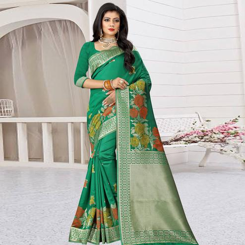 Prominent Green Colored Festive Wear Woven Art Silk Saree