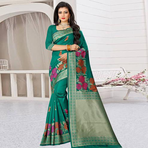 Capricious Turquoise Green Colored Festive Wear Woven Art Silk Saree