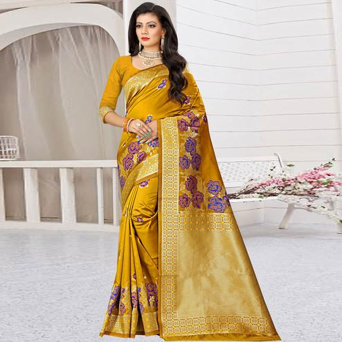 Entrancing Mustard Yellow Colored Festive Wear Woven Art Silk Saree
