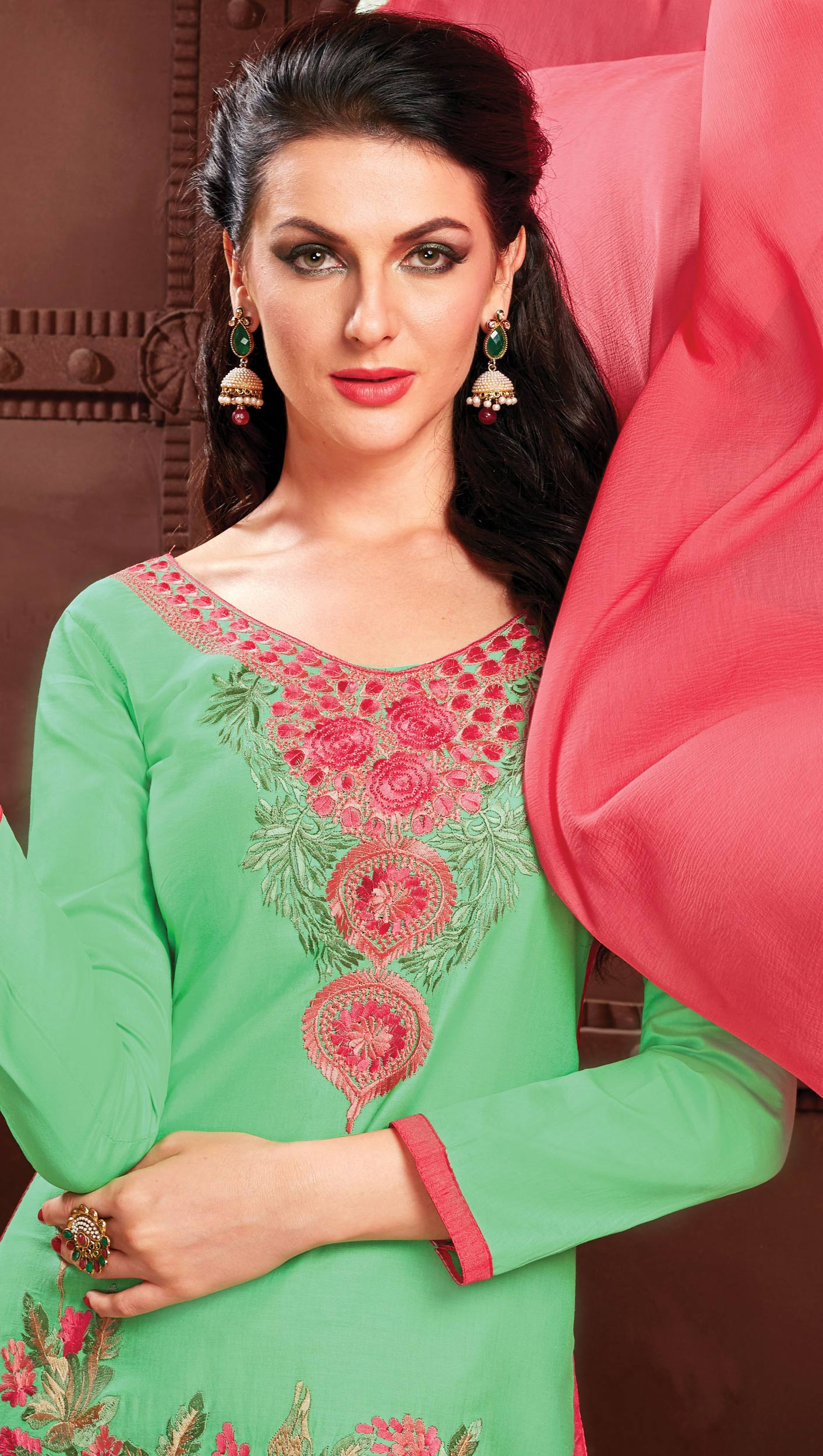Green - Pink Embroidered Work Cotton Suit
