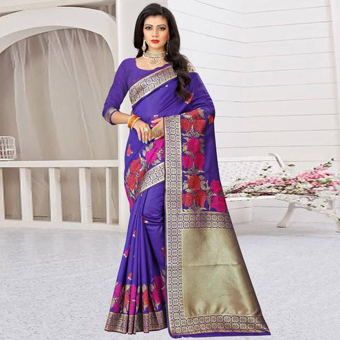 Groovy Blue Colored Festive Wear Woven Art Silk Saree