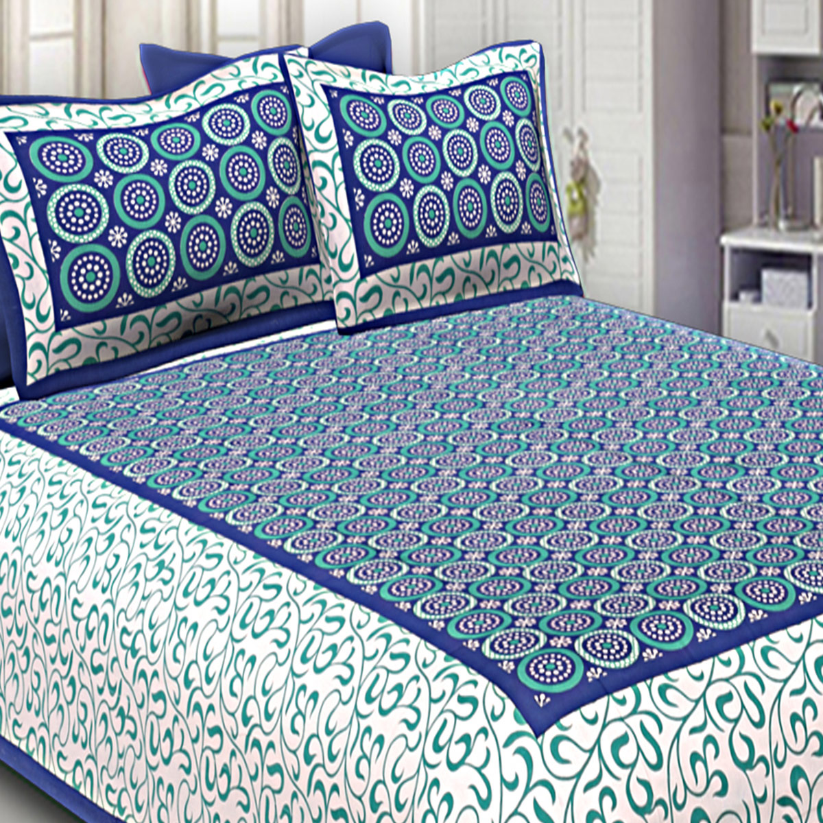 Gleaming Navy Blue Colored Circle Printed Cotton Double Bed Sheet With Pillow Cover