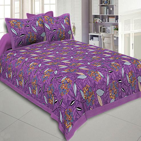 Demanding Purple Colored Flowery Printed Cotton Double Bed Sheet With Pillow Cover