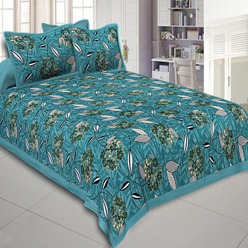 Magnetic Rama Blue Colored Flowery Printed Cotton Double Bed Sheet With Pillow Cover