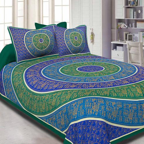 Flamboyant Green-Blue Colored Golden Barat In Circle Printed Super Fine Cotton Double Bedsheet With Pillow Cover