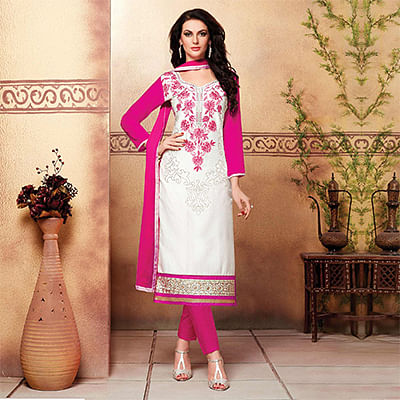 White - Pink Embroidered Work Cotton Dress Material