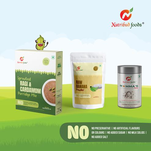 Nutribud Foods - Momma's Kit – Momma's Tea – Pack of 2, Sprouted Ragi & Cardamom Porrige Mix – Pack of 2, Raw Banana Powder – Pack of 2