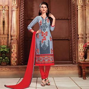 Grey - Red Embroidered Work Dress Material