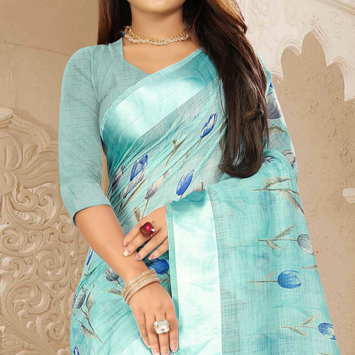 Groovy Auqa Blue Colored Casual Wear Floral Printed Linen Saree