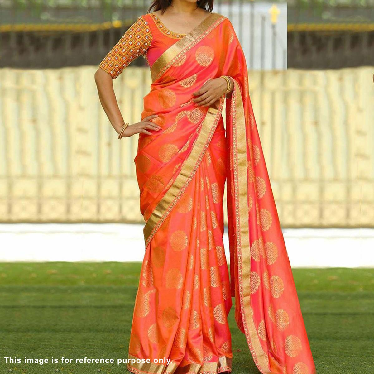 Orange Party Wear Silk Jacquard Saree