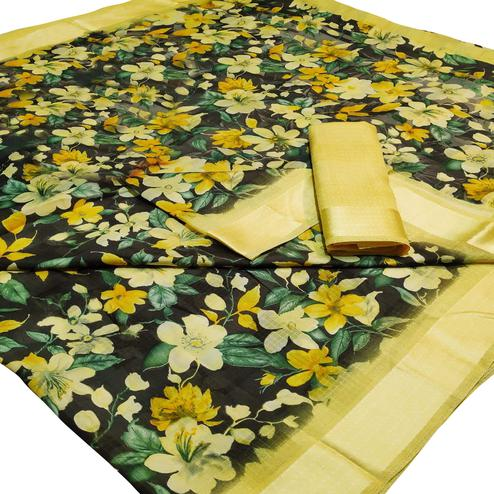 Gorgeous Black-Yellow Colored Casual Wear Floral Printed Linen Saree